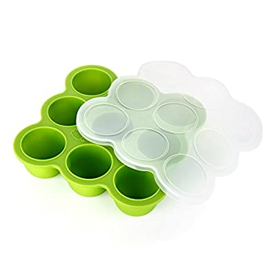 GVDV Silicone Baby Food Freezer Tray with Clip-on Lid BPA Free & FDA Approved Storage Container for Homemade Baby Food, Vegetable & Fruit Purees and Breast Milk, Green - Lifetime Guarantee by GVDV that we recomend personally.