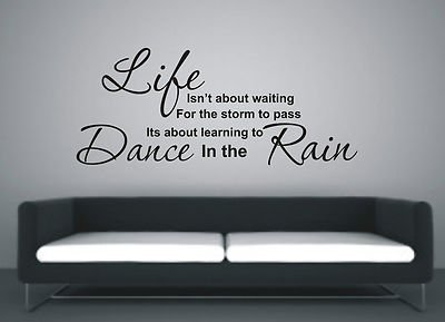 Learn To Dance In The Rain Wall Art Sticker Quote Color Baby Pink