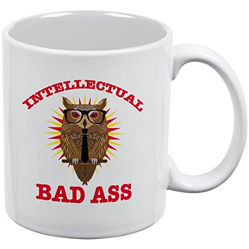 Graduation Intellectual Bad Ass Owl White All Over Coffee (Bad Owl Costume)