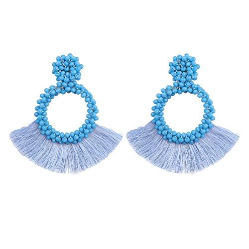HAO HONG Tassel Beads Statement Hoop Handmade Drop Dangle Earrings for Women White for Daily Wedding Party Gift (Sky Blue)