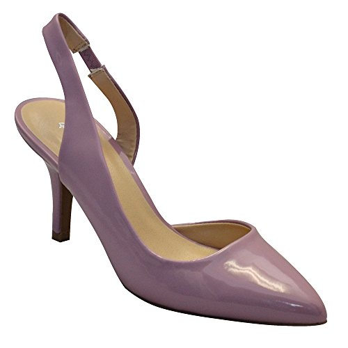 Qupid. Portia-30X Womens Slingback Pointy Toe Pump Ash Lilac Size 6.5