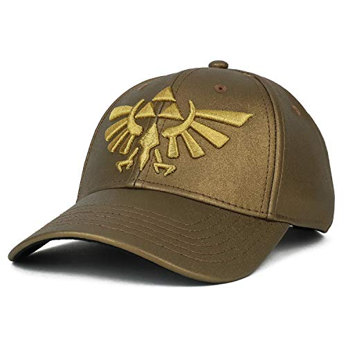 Armycrew Legend of Zelda Triforce 3D Logo Embroidered Matte Structured Cap - Gold