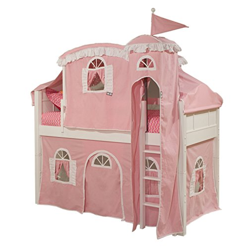 Bolton Furniture 9881500LT5PW Emma Low Loft Castle Bed with Ladder, Pink/White Tower, Top Tent, and Bottom Curtain Playhouse, White