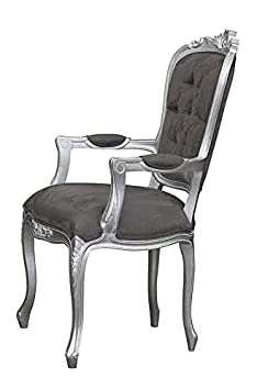 White Star French Louis XV Elise Armchair Silver with Brushed Grey Satin