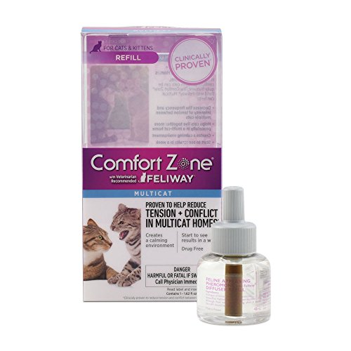 Comfort Zone Multicat Diffuser Refill, 1 Pack, For Cat Calming (Zone Refill Feliway Farnam Comfort)