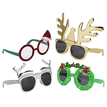 bc265f109357 Pack of 4 Assorted Novelty Christmas Fancy Dress Plastic Glasses ...