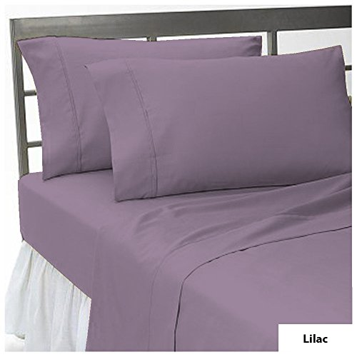 17 inch Deep Pocket 3 PCs Fitted Sheet Set 100% Pima Cotton 1000 TC Solid Pattern Size California NCL Color Lilac