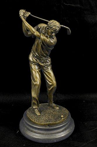 …Handmade…European Bronze Sculpture Signed Patou Abstract Tall Golfer Trophy House Decor Golf Golfing (YRD-394-EU) Bronze Sculpture Statues Figuri…