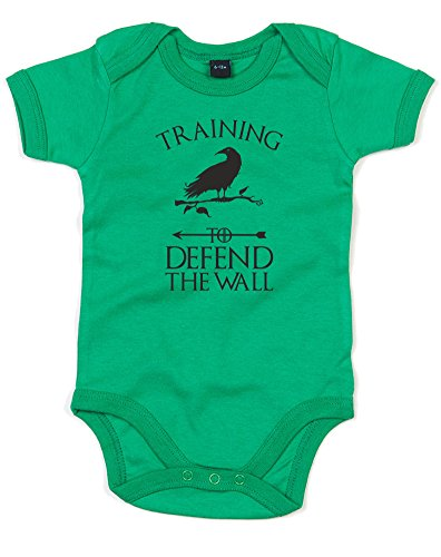 Training To Defend The Wall, Printed Baby Grow - Kelly Green/Black 0-3 Months