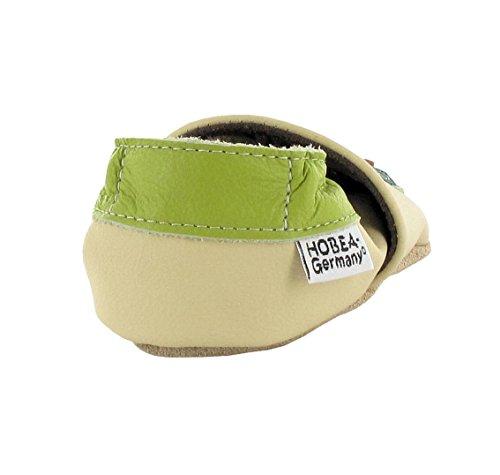 HOBEA-Germany , Chaussons pour garçon Eule grün 24/25 (24-30 Monate)
