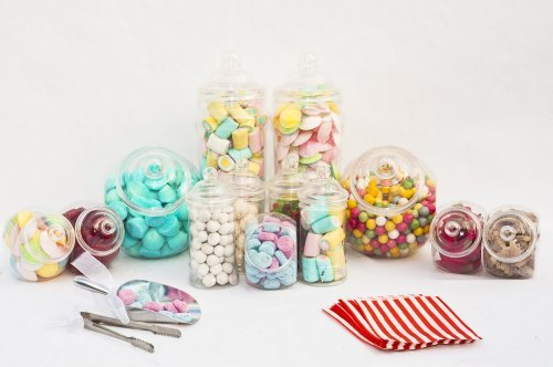 10 Jar Large Candy Buffet Kit Set, 10 Plastic Empty Sweet Jars, 3 Tongs, 2 Scoops, 100 Bags (Red)