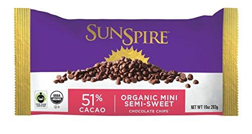 Organic Semi Sweet - SunSpire Organic Fair Trade 51% Cacao Semi-Sweet Mini Chocolate Chips, 10 Ounce