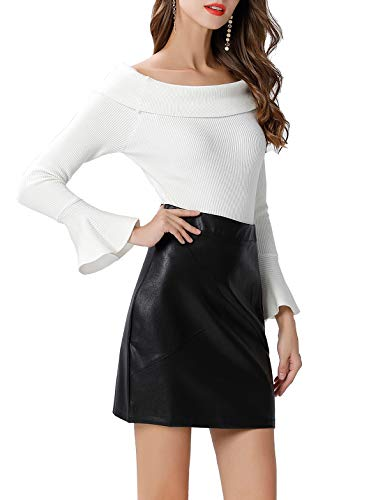 GUANYY Women's Faux Leather Vintage High Waist Classic Slim Mini Pencil Skirt(Black,XX-Large)