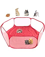 Amakunft Small Animal Playpen With Cover, Hamster Pen Pet Exercise Fence, Guinea Pig Accessories, Foldable & Waterproof Yard Fence Tent For Rabbit, Squirrel, Kitten, Puppy, Chinchilla And Hedgehog