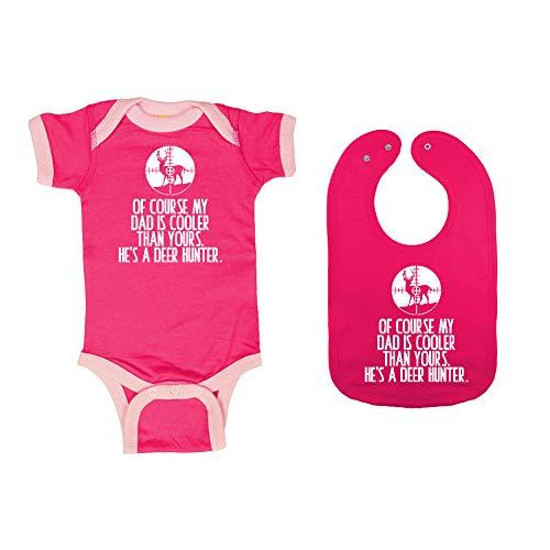 Mashed Clothing - of Course My Dad is Cooler Than Yours. He's A Deer Hunter. - Baby Ringer Bodysuit & Premium Bib Gift Set (Hot Pink/Pink Ringer, Hot Pink Bib, Newborn) ()