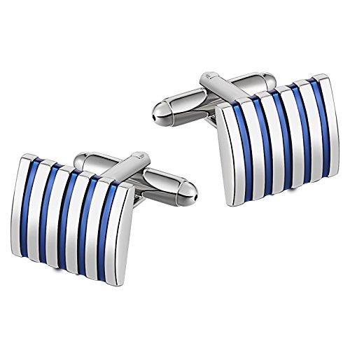 Epinki Stainless Steel Square Stripe Blue Cufflinks for Men Bussiness Wedding Gift Florida Gators Square