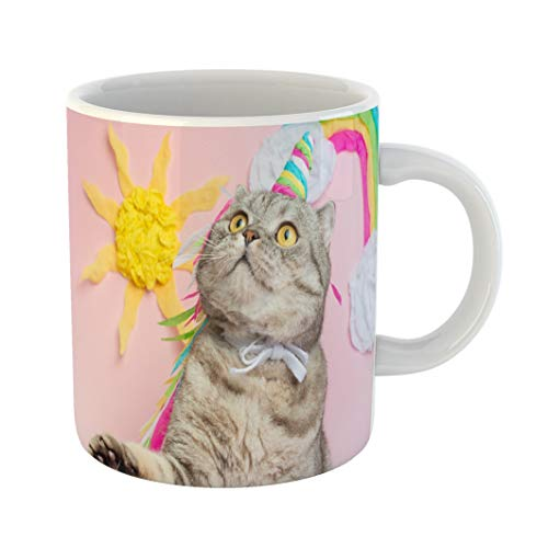 Emvency 11 Ounces Coffee Mug Halloween Cute Cat Unicorn Rainbow Horn on Pink Sunshine Clouds and Colorful of Fairy Tale Funny Sweet Love Celebration Kitten White Ceramic Glossy Tea Cup -