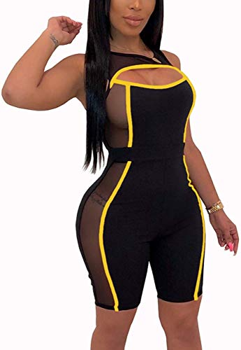 ThusFar Women's Sexy Club Outfits Romper - Mesh Cut Out Sleeveless Bodycon Short Jumpsuit Pants Large Yellow (Women Sexy Jumpers For Short)