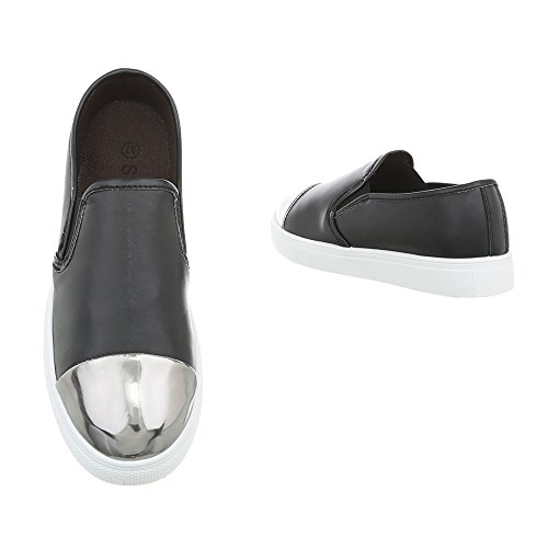 Piatto Scarpe Sneakers Argento D21 Sneaker Ital Low Nero Design da Donna 41Xq5
