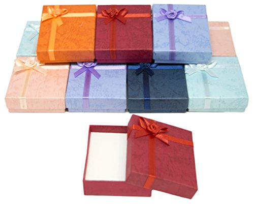 (Novel Box Cardboard Jewelry Pendant Gift Boxes with Rosebug Bows in Assorted Colors 2.5X2.8X0.75 (Pack of 12) + NB Cleaning Cloth)