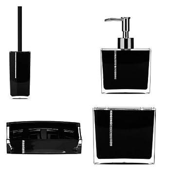 brand new 4pc acrylic diamante crystal bathroom set in black lotion dispenser toothbrush holder