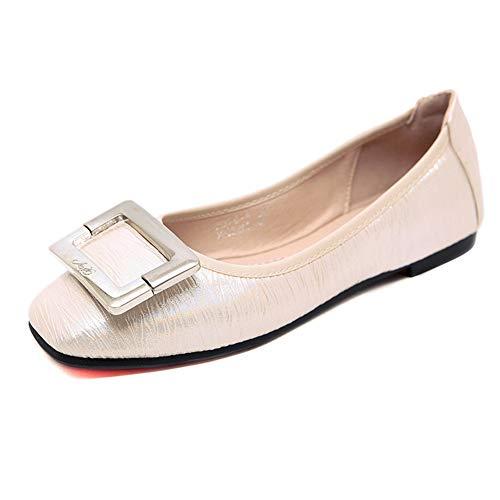 Elegante Mocassini Loafers Qzx Ballerine Flat Donna Bocca Beige Scarpe Casual Superficiale nt8w6qwaUx