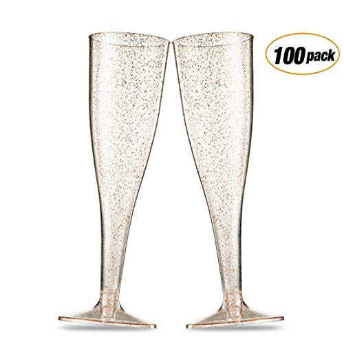 100 Gold Glitter Plastic Champagne Flutes ~ 5 Oz Clear Plastic Toasting Glasses ~ Disposable Wedding Party Cocktail Cups -