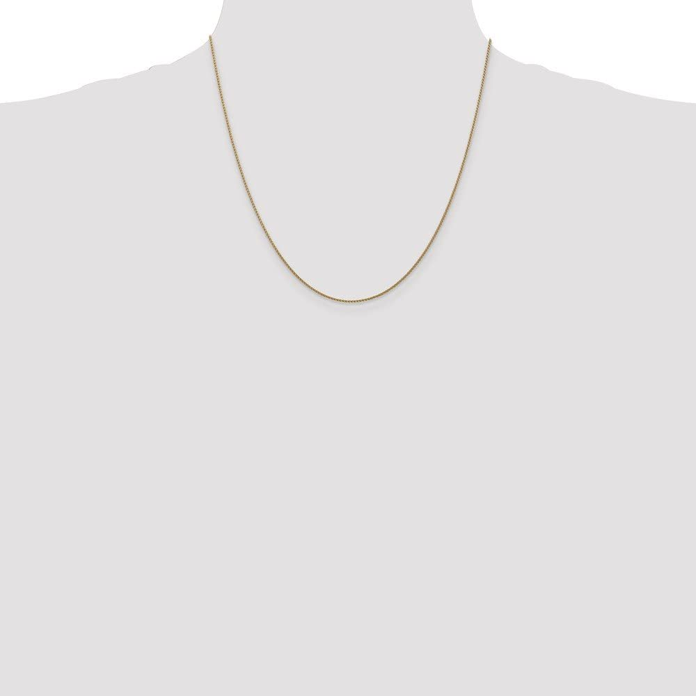 Wheat Chain Necklace 3.41g 14k Yellow Gold 1mm Spiga