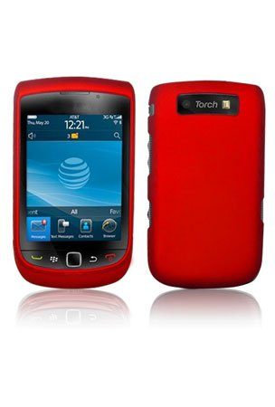Red Rubber Feel Snap-On Cover Hard Case Cell Phone Protector for Blackberry 9800 (Protector Cover Blackberry Torch)