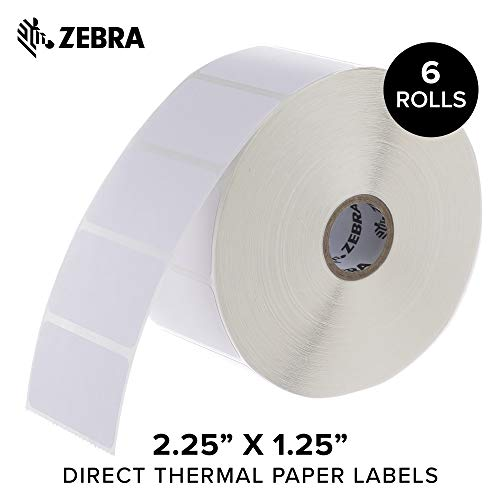 - Zebra - 2.25 x 1.25 in Direct Thermal Paper Labels, Z-Perform 2000D Permanent Adhesive Shipping Labels, Zebra Desktop Printer Compatible, 1 in Core - 6 Rolls