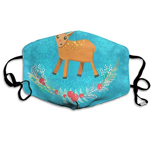 Face Mask Christmas Deer Animals Design Great Cycling Half Face Earloop Nose Mask for Man -