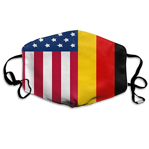 (Premium Earloop Face Mask, Dustproof Anti Flu Pollenm Face and Nose Cover with Adjustable Elastic Strap - Windproof German American Flag Half Face Mouth Mask)