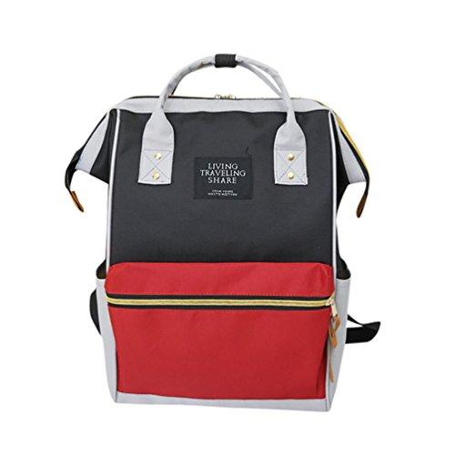 Promotion Backpack School Travel Bag,Rakkiss Unisex Solid Double Shoulder Bag Zipper Bag Casual Oxford Nylon (Spy Brown Handbag)