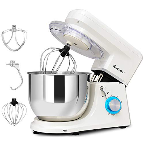 COSTWAY Stand Mixer, 7.5-Quart 660W 6-Speed Electric Mixer with Stainless Steel Bowl, Tilt-head Food Mixer with Dough Hook, Beater, Whisk (White)