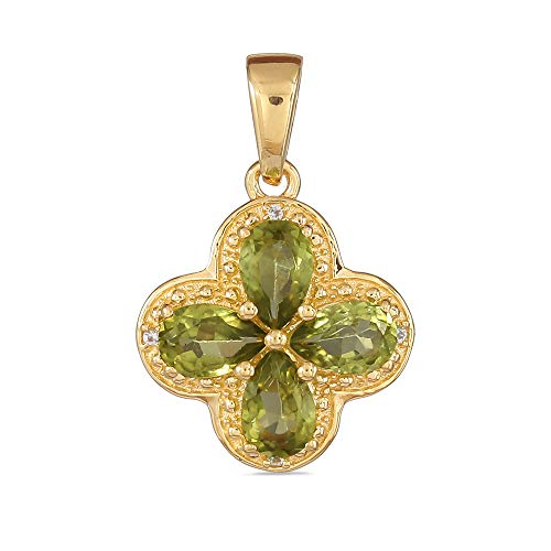 - Yellow Gold Plated 925 Sterling Silver Pear Shaped Hunan Peridot Cluster Flower Pendant For Women with White Topaz Without Chain