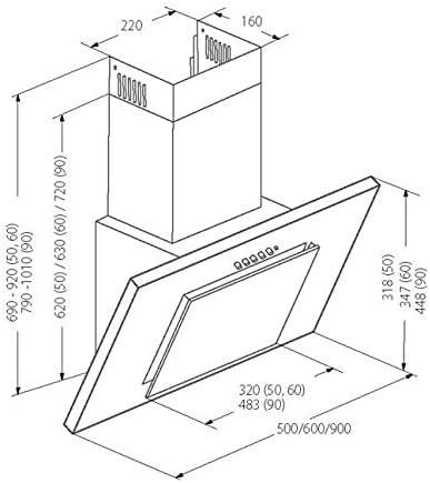 Akpo - Campana extractora wk-4 nero line negro / 60cm / 320m3/h - campana extractora de cocina: Amazon.es: Grandes electrodomésticos