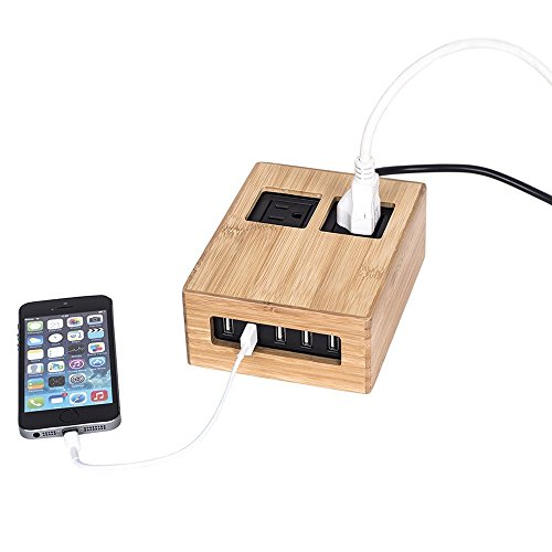 G.U.S. Eco-Friendly Bamboo Power Hub Charging Station, with 5-USB + 2-AC Ports, Desk Top Electronics and Cord Management Organizer, Available in 4 Decorative Finishes