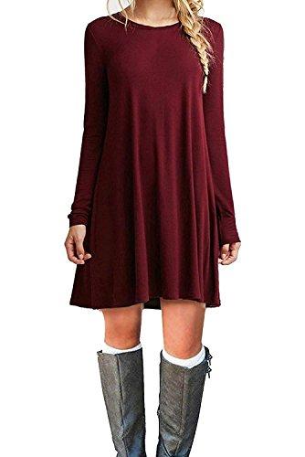 VIISHOW Women's Basic Long Sleeve Casual Loose T-Shirt Dress Wine red L