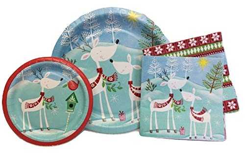 Celebrate Christmas Holiday Paper Plates, Napkins, Heavy Duty Dinnerware Set, 55 Dinner plates, 55 Dessert Plates, and 120 Napkins, Reindeer Snowflake Party Supplies