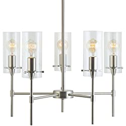 Effimero 5 Light Pendant Chandelier - Brushed Nickel w/ Clear Cylinders - Linea di Liara LL-C35-BN