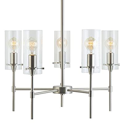 Effimero 5 Light Chandelier | Brushed Nickel Hanging Light Fixture LL-C35-BN - The Effimero ceiling light fixture is ideal for kitchen island lighting, as a dining room chandelier, hanging lights for a bedroom or foyer lighting Perfect for farmhouse lighting or as a rustic chandelier; this industrial metal and glass modern hanging lamp is simple yet elegant Uses five E26-base bulbs, 60W max (not included); dimmable when used with a dimmable bulb and compatible dimmer switch. Works with most medium base bulbs up to 60W, compatible with smart bulbs - kitchen-dining-room-decor, kitchen-dining-room, chandeliers-lighting - 413Cvd0jqnL. SS400  -