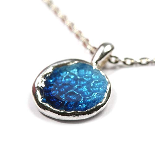 Sterling Silver Cloisonne Enamel Pendant Necklace Jewelry for Women, 18