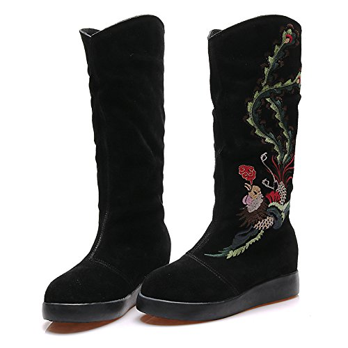 Gamuza Bordado Redonda Zapatos mujer Best Patrón Botas Slouch Tacón Punta flor Botas plano de de invierno de otoño de negro 4U® n4a4OxqI