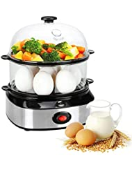 THYMY Egg Cooker Deluxe Steamer Egg Boiler with Two Layers 14 Eggs Capacity-Black