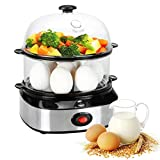 PowCube Cooker,14 Capacity Deluxe Steamer Egg Boiler with Two Layers, Silver