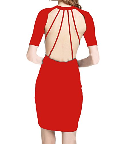 Coolred Sexy Package Red Hip Solid Bodycon s Women Backless Soft Dress rHwFXHvq