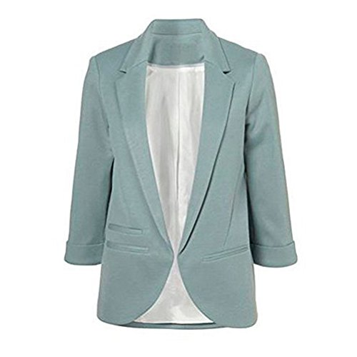 Face N Face Women's Cotton Rolled Up Sleeve No-Buckle Blazer Jacket Suits (Face Buckle)
