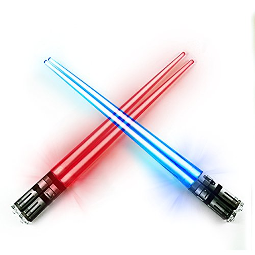 (ChopSabers Light Up Lightsaber Chopsticks LED Set, 2 Pairs, Red Blue )