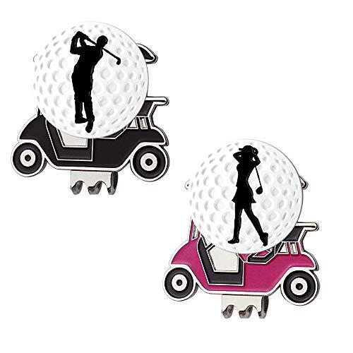 Myartte Powerful Magnetic Golf Cart Hat Clip, Assorted Pattern Golf Ball Markers 24.4MM,Nice Golf Gift for Women Men Kids,Pack of 2 (Golfer)