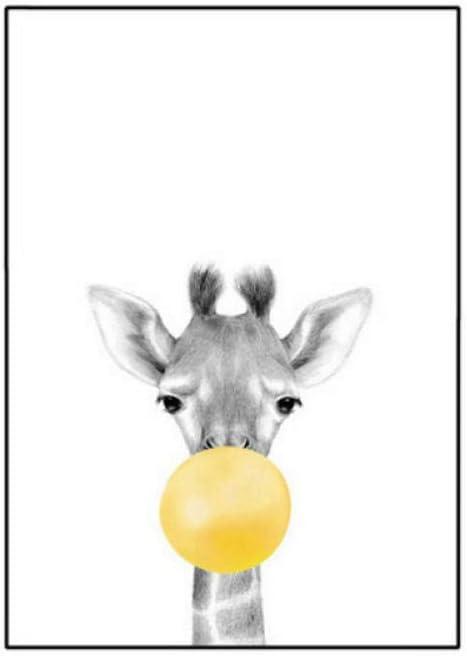 wymhzp Z/èbre /él/éphant Girafe Koala Toile Peinture Bulle Gomme Affiche Safari Animal Toile Impression Murale Art b/éb/é Chambre d/écoration Murale sans cadre-3pcs/_40x60cm